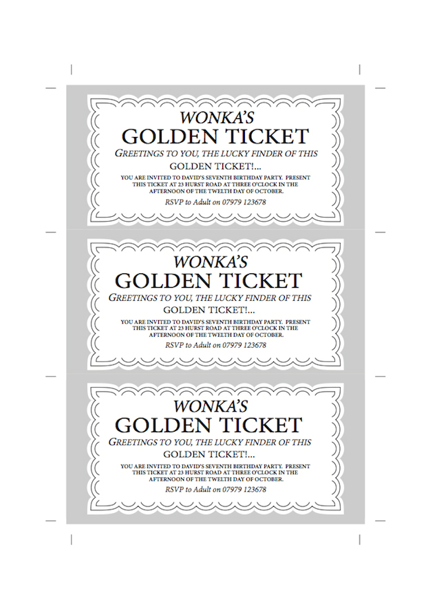 Willy Wonka Chocolate Bar Party Invite - James Forward