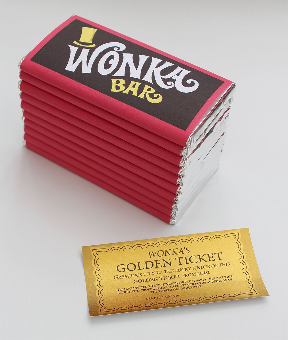 picture regarding Printable Wonka Bar Wrapper named Willy Wonka Chocolate Bar Bash Invite - James Ahead Style and design